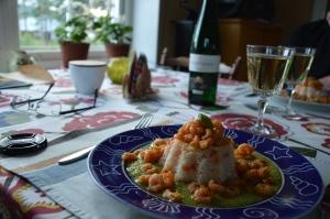 Vinet passade perfekt, ett riesling, Sankt Anna. Recept på maten finns på Systembolagets sida.