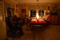Efter maten och utan el. Speciellt jag och äldsta sonen tyckte den var tokmysig, denna tystnad.