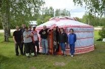 Den mongoliska jurtan på plats i Överkalix.